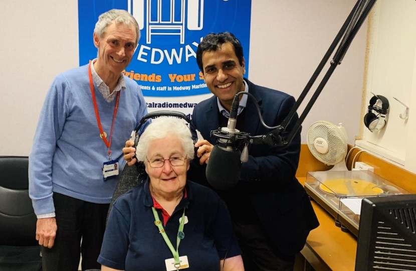 Rehman with Hospital Radio Medway staff